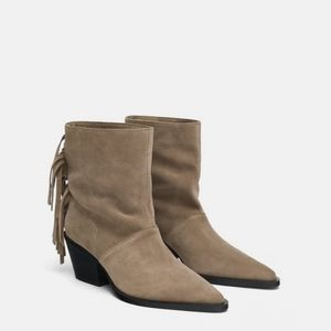 Zara Taupe Grey Suede Leather Fringe Ankle Boots
